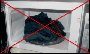 Сушка в микроволновке не рекомендуется
